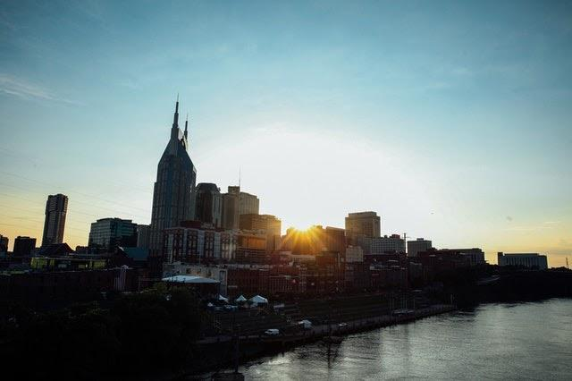 panoramic view of Nashville in the sunset